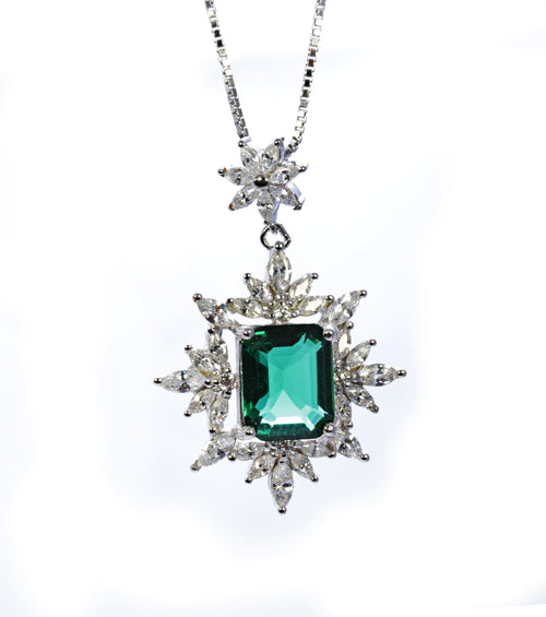 Emerald Frost Pendant in Sterling Silver