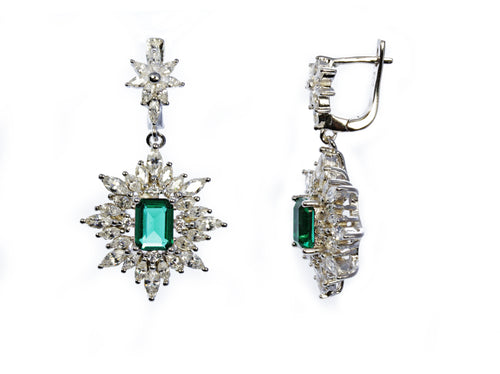Emerald Frost Earring in Sterling Silver