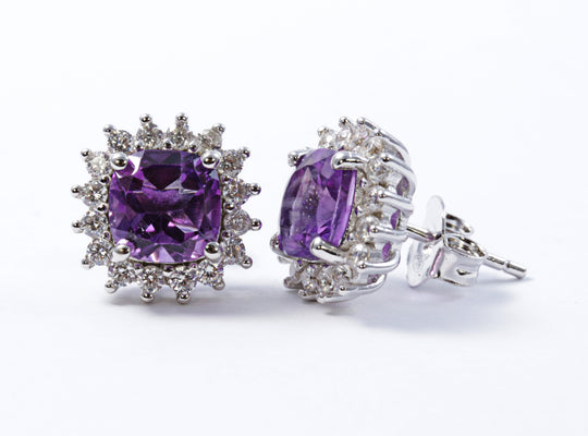 Cushion Amethyst Earring with CZ Accents in Sterling Silver