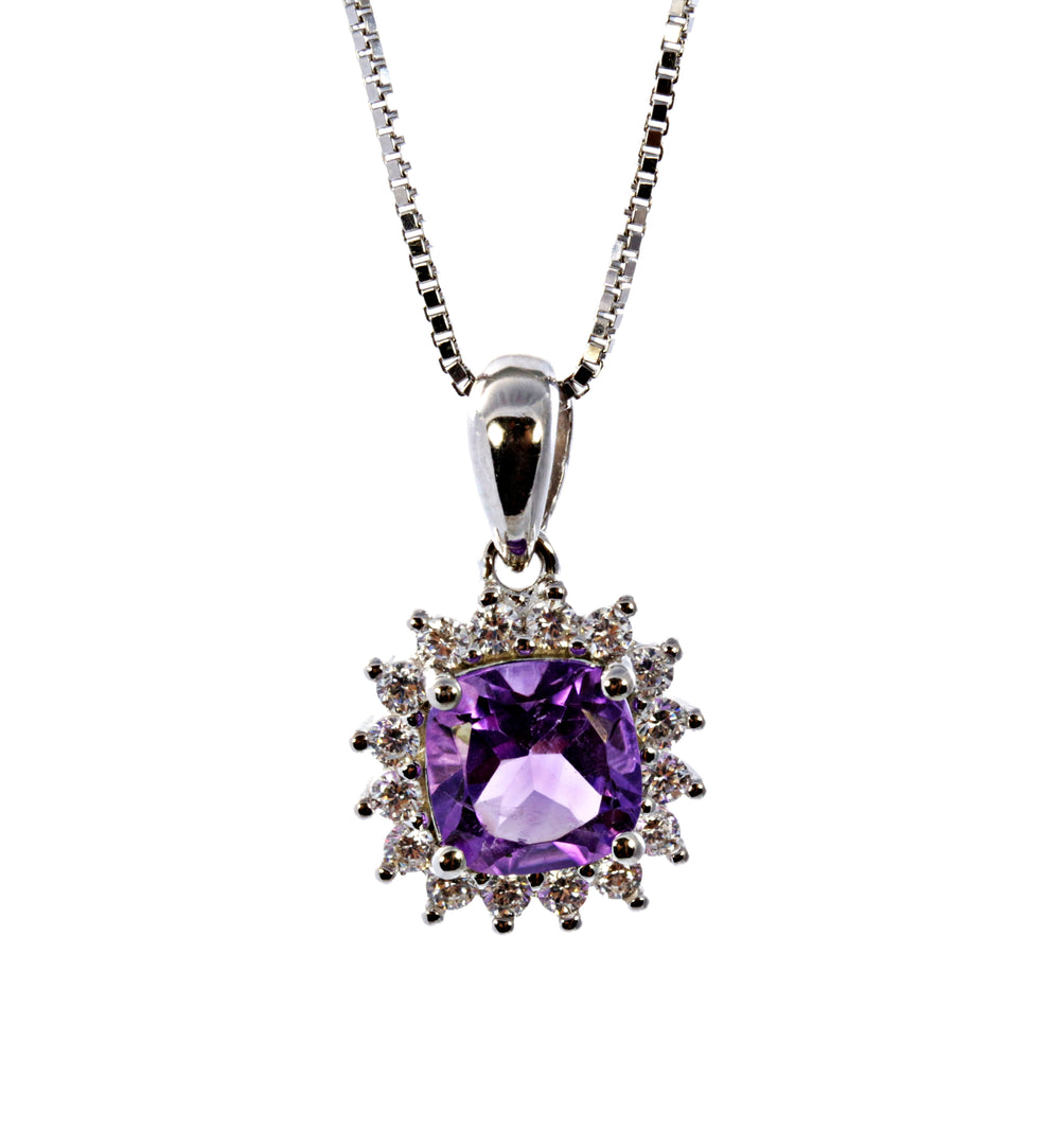 Cushion Amethyst Pendant with CZ Accents in Sterling Silver