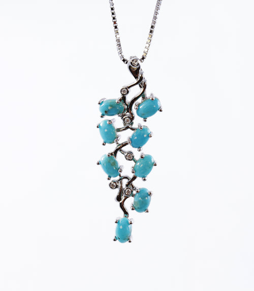 Multi Stone Turquoise Cluster Pendant in Sterling Silver