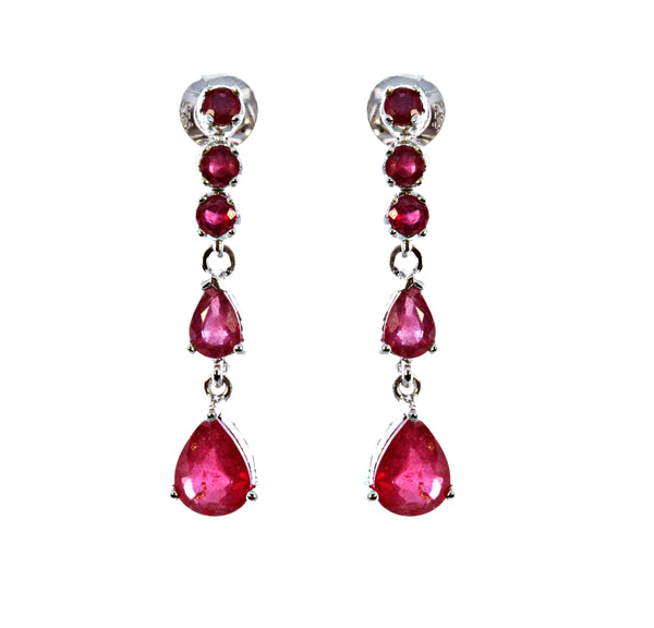 Ruby Multi Pear Droplet Earring