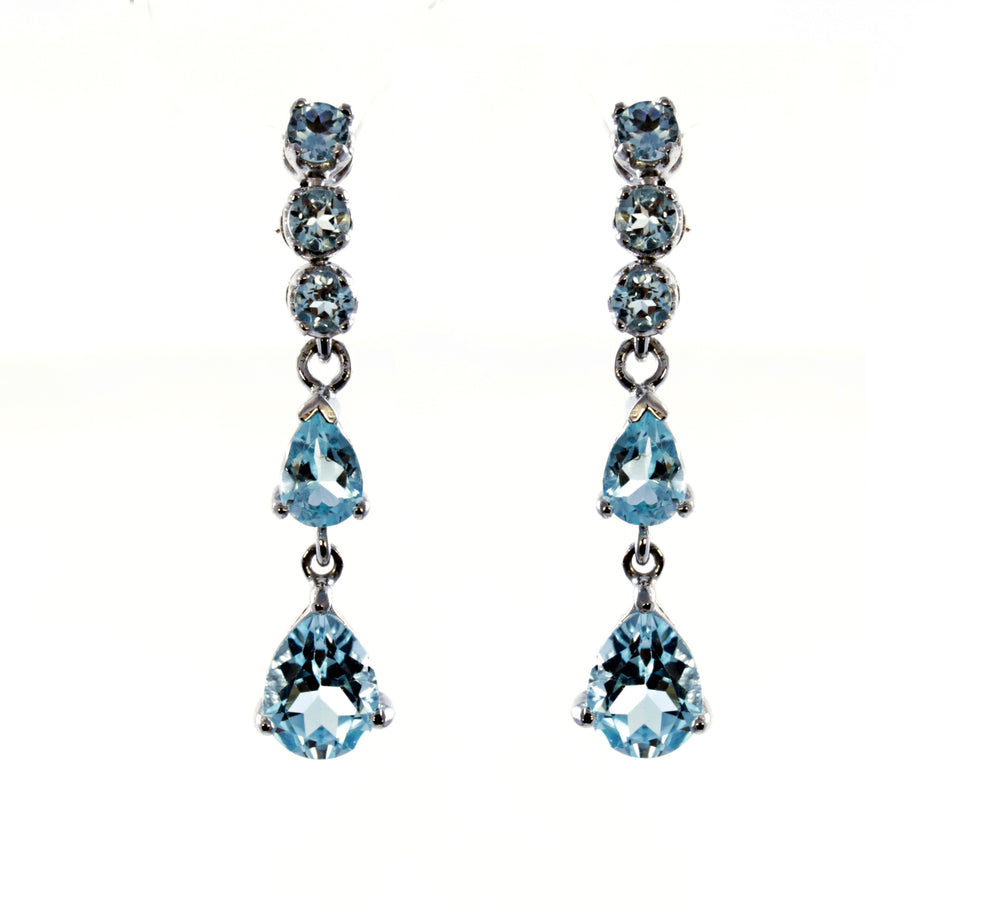 Pear Aquamarine Droplet Earrings in Sterling Silver