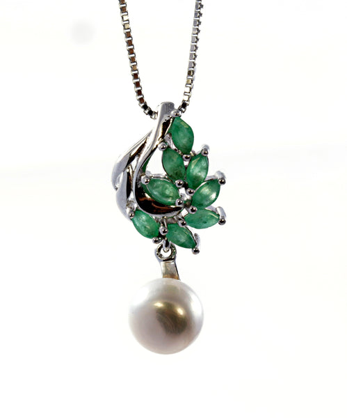 Marquise Emerald and Pearl Pendant in Sterling Silver