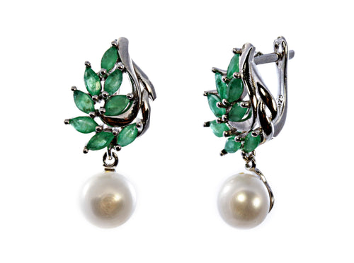 Marquise Emerald and Pearl Earring in Sterling Silver