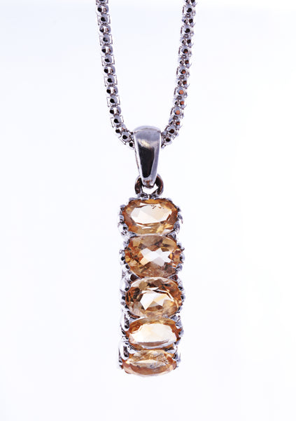Oval Citrine Pendant in Sterling Silver