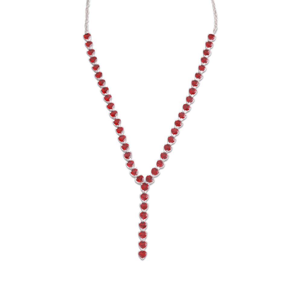 Necklace With Red Garnet In Sterling Silver