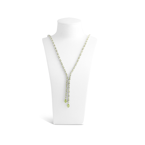 Green Peridot, Sterling Silver Rhodium Plated Necklace