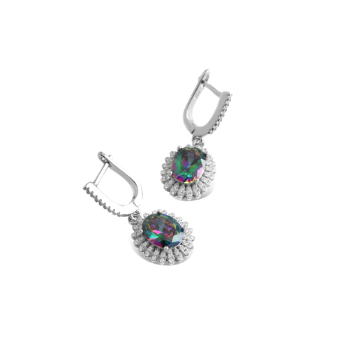 Earring With Mystic Topaz & 5A Cubic Zirconia In Sterling Silver
