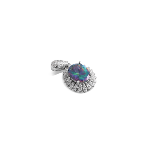 Pendant With Mystic Topaz & 5A Cubic Zirconia In Sterling Silver