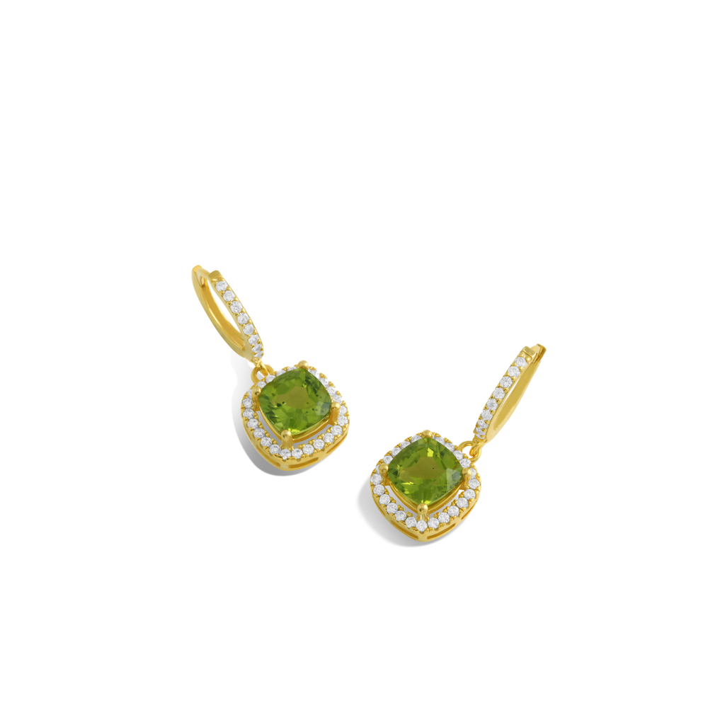 Green Peridot, Sterling Silver Rhodium Plated Earring