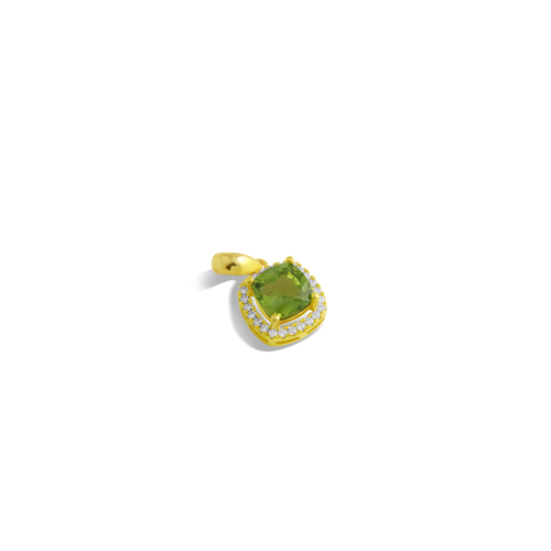 Pendant With Green Peridot & 5A Cubic Zirconia In Sterling Silver