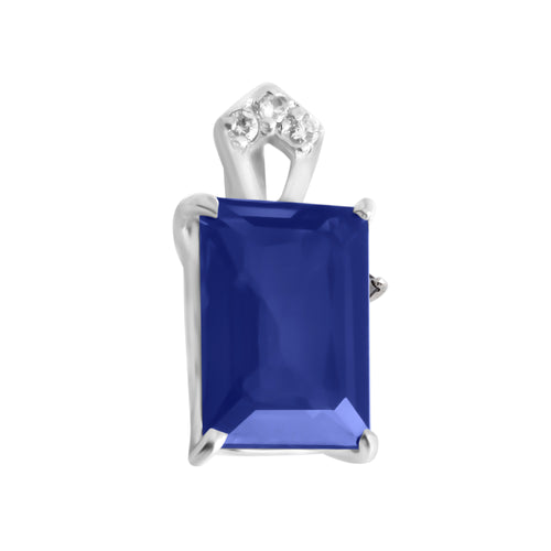 Pendant With Blue Sapphire & 5A Cubic Zirconia In Sterling Silver