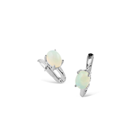 Earring With White Opal In Sterling Silver