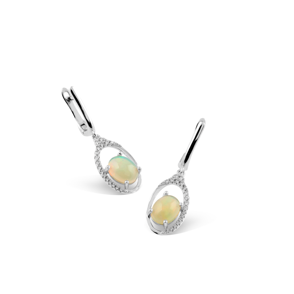 Earring With White Opal & 5A Cubic Zirconia In Sterling Silver