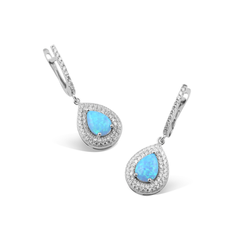 Blue Opal, Sterling Silver, Rhodium Plated Earring
