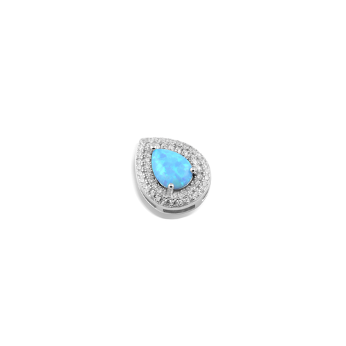 Blue Opal, Sterling Silver, Rhodium Plated Pendant