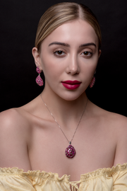 Earring With Red Ruby & 5A Cubic Zirconia In Sterling Silver
