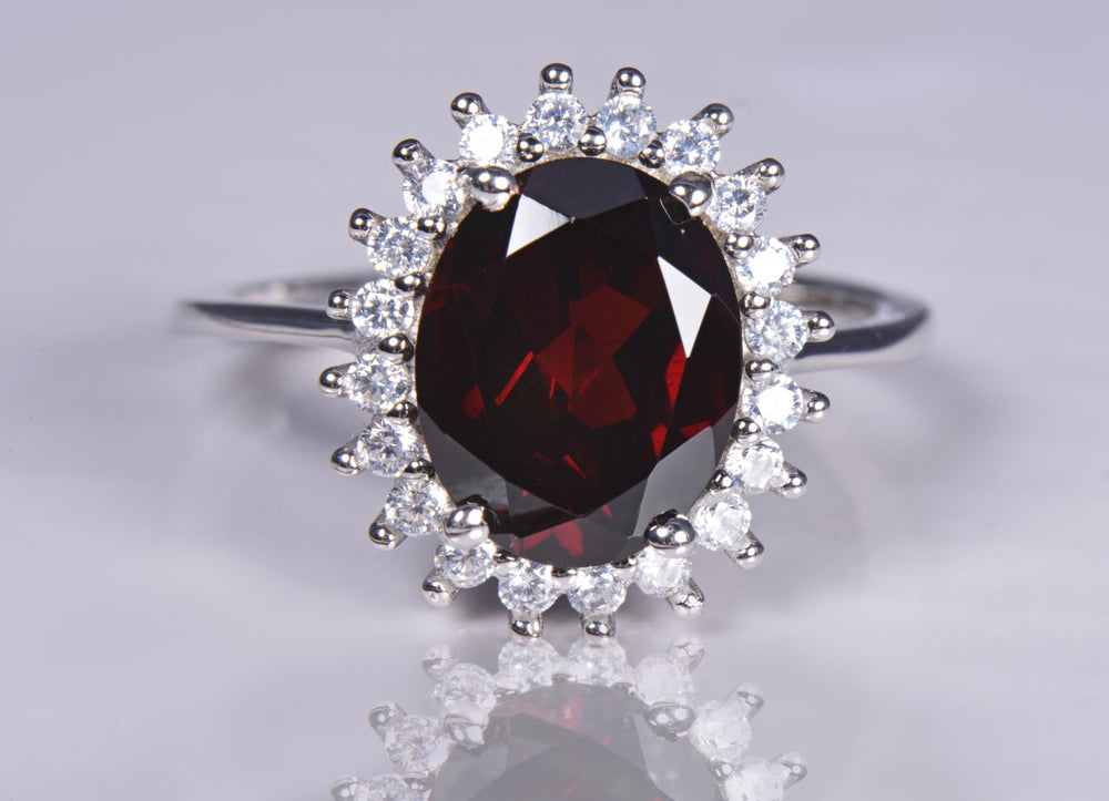 Ring With Red Garnet & 5A Cubic Zirconia In Sterling Silver
