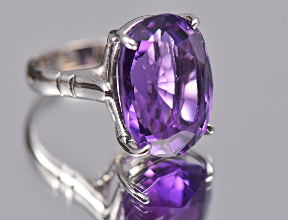 Ring With Purple Amethyst  & 5A Cubic Zirconia In Sterling Silver