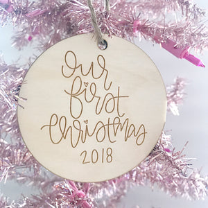 Celebrate your first Christmas together with an Our First Christmas 2018 Ornament handlettered by Full Heart Co.