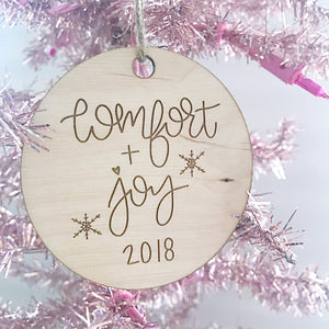 Celebrate Christmas with a Comfort and Joy 2018 ornament handlettered by Full Heart Co.