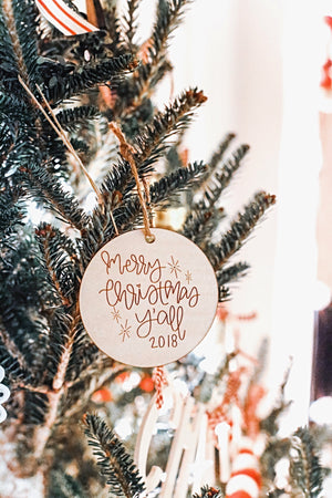 Merry Christmas Y'all 2018 Ornament by Full Heart Co