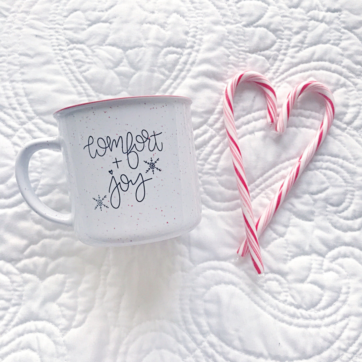 Full Heart Co's hand-lettered Comfort + Joy coffee mug! Curl up and sip your favorite drink from your favorite mug throughout the Christmas season! Dishwasher + Microwave Safe