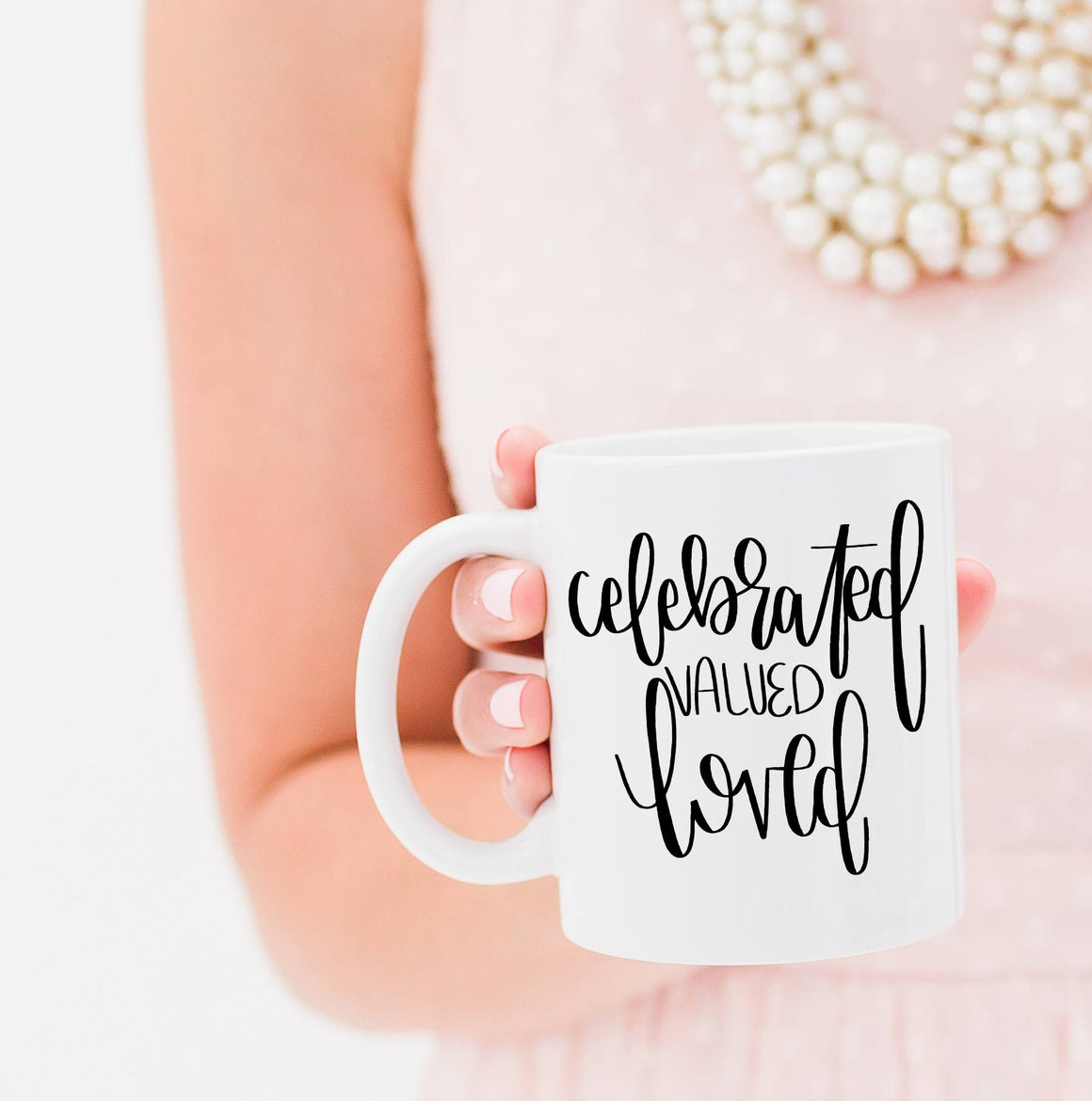 Full Heart Co's Hand-Lettered Celebrated, Valued, Loved mug. 10% of each sale is donated to the Tim Tebow Foundation. Be encouraged + give back at the same time. This cute coffee mug is a great reminder that you are truly celebrated, valued, and loved. Buy it for yourself or a friend.