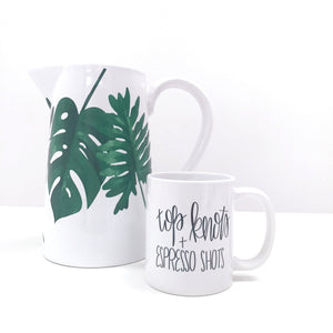 Full Heart Co's Hand-Lettered Top Knots and Espresso Shots mug. Gift it for yourself or a friend. Your coffee mug rack needs this cute addition.