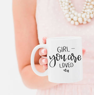 Full Heart Co's Hand-Lettered You Are Loved mug.  Buy it for yourself or a friend. This mug is a great way to remind yourself every single day that you are loved. Your coffee mug rack needs this cute and encouraging addition.