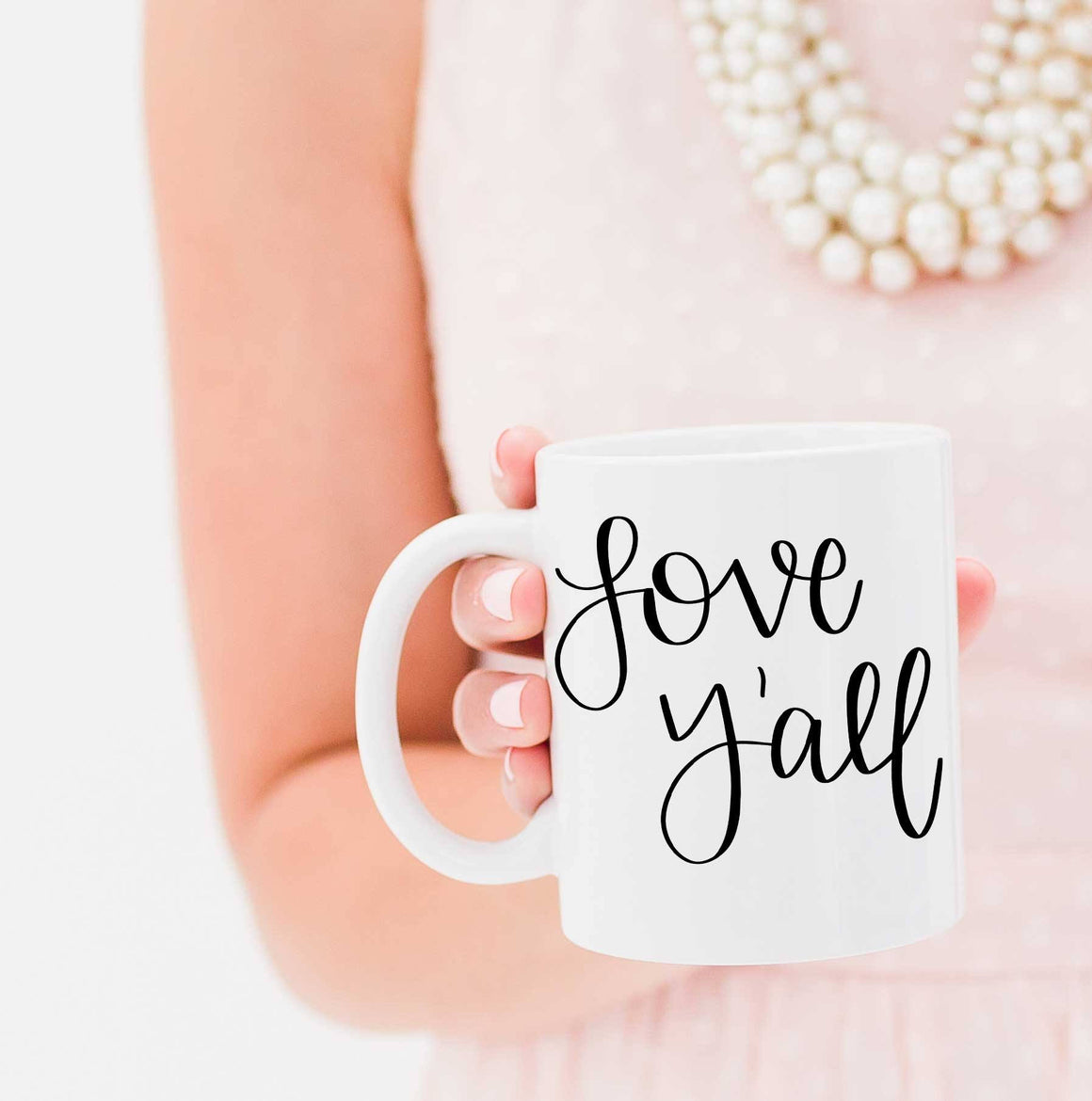 Full Heart Co's Hand-Lettered Love Y'all mug. The perfect mug for the southern lady. Your coffee mug rack needs this cute addition.