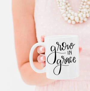 Full Heart Co's Hand-Lettered Grow In Grace mug.  Buy it for yourself or a friend. This mug is a great way to remind yourself every single day to embrace grace. Your coffee mug rack needs this cute and encouraging addition