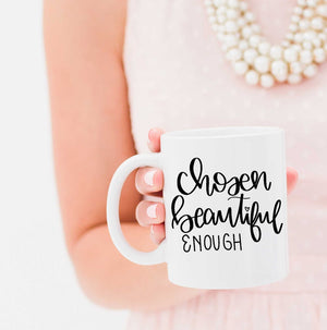 Full Heart Co's Hand-Lettered Chosen, Beautiful, Enough mug. 10% of each sale is donated to the non profit organization Kurandza. Be encouraged + give back at the same time. This cute coffee mug is a great reminder that you are truly chosen, beautiful, and enough. Buy it for yourself or a friend.