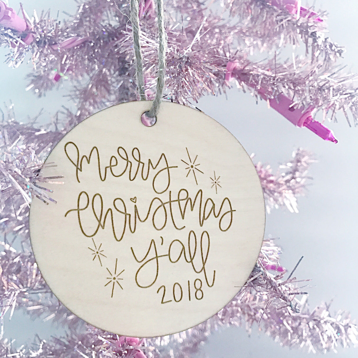Celebrate Christmas with a Merry Christmas Y'all 2018 ornament handlettered by Full Heart Co.