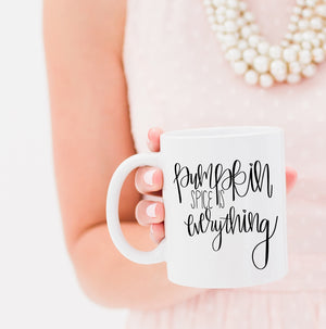 Full Heart Co's Hand-Lettered Pumpkin Spice is everything mug. Celebrate your love for fall and pumpkin with this coffee mug. Gift it for yourself or a friend. This mug makes the perfect addition to your fall coffee mug rack.