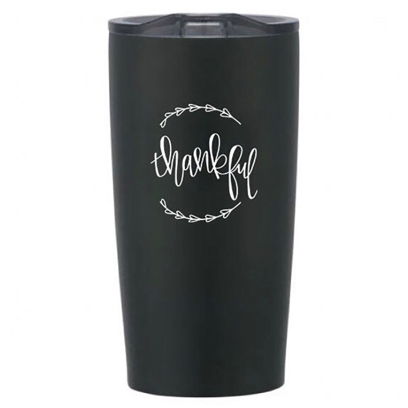 Full Heart Co's Hand-Lettered Thankful tumbler.  Buy it for yourself or a friend. This tumbler is a great way to remind yourself every single day of all that you have to be thankful for. Your cabinet needs this cute and encouraging addition.