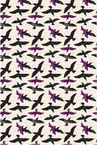 AND THE BIRDS DIGITAL CONVERSATIONAL PRINTED FABRIC-latte