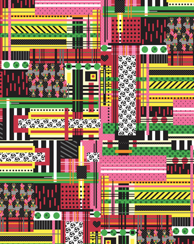 BIG IN JAPAN PATCHWORK PLAID DIGITAL PRINT