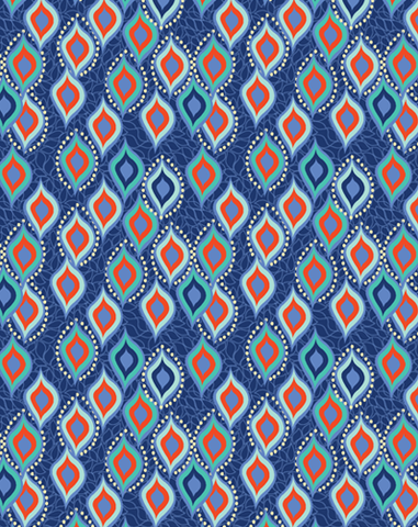 BINDI DANCE ETHNIC PRINTED FABRIC-indigo