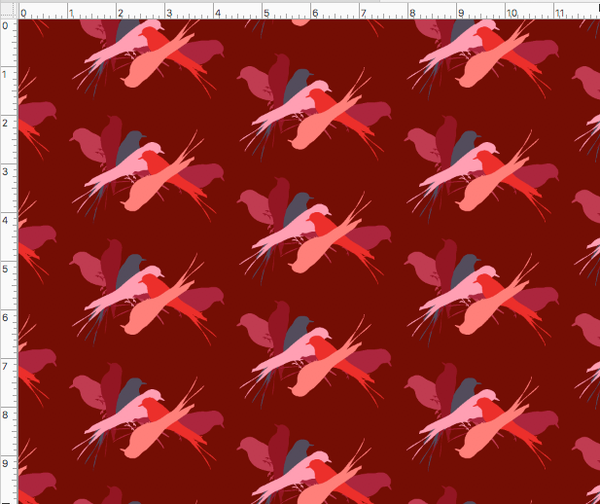 BIRDSPIN CONVERSATIONAL PRINTED FABRIC-cherry