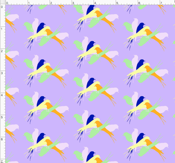 BIRDSPIN CONVERSATIONAL PRINTED FABRIC-ice