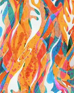 DANCING LEAVES HAND PAINTED PRINTED FABRIC