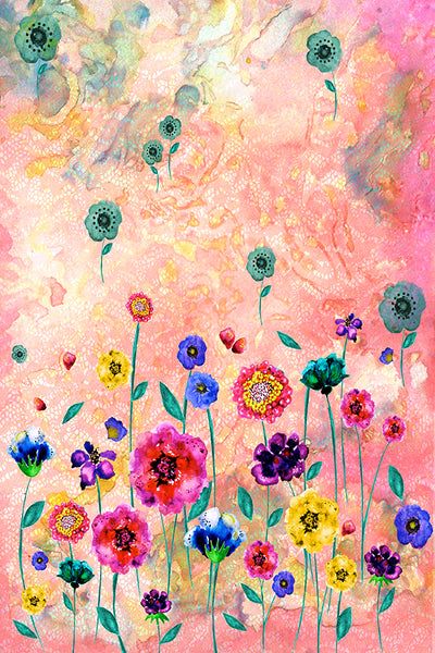 HEAVENLY BODIES WATERCOLOR FLORAL ABSTRACT PRINT