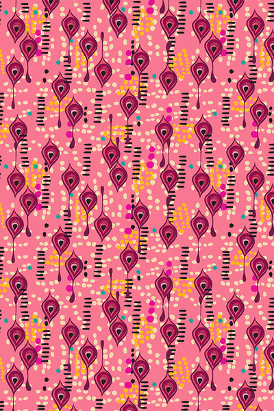 MAGIC DUST BOHEMIAN PRINTED FABRIC-cherry