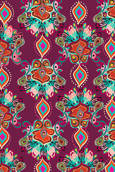 PERSIA JEWEL BOHEMIAN PRINTED FABRIC-bordeaux
