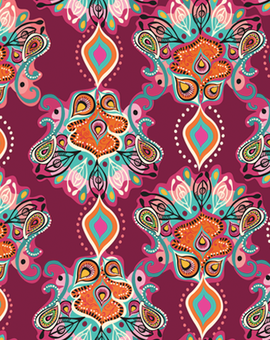 PERSIA JEWEL DIGITAL BOHEMIAN  PRINT-bordeaux