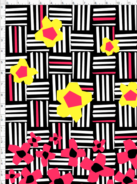 PAPER STRIPS FLORAL STRIPE PRINTED FABRIC