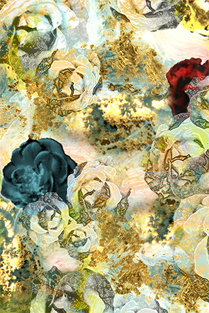 ROSE DECAY-DANCE FLORAL ABSTRACT DIGITAL PRINT
