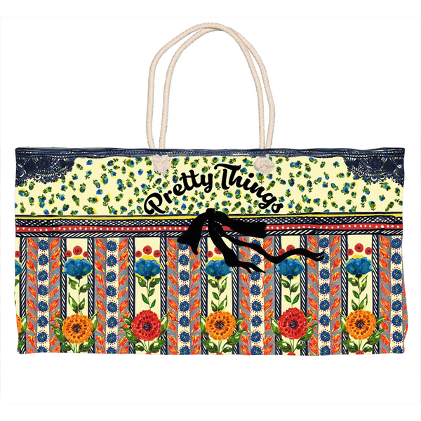 """PRETTY THINGS"" -  Hand Painted Weekender Tote"